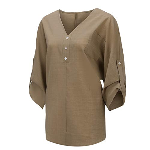 Plus Size Loose Women Cotton Blend Solid Pullover,Ladies Buttons V Neck Pocket Long Sleeve T Shirt Top (X-Large, Khaki) ()