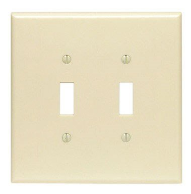 Leviton 86109 001-000 2-Toggle Oversized Wall Plate, 2 Gang, 5-1/4 in L X 5.31 in W 0.255 in T, Smooth, 1-Pack, Ivory (Plate Ivory Toggle)