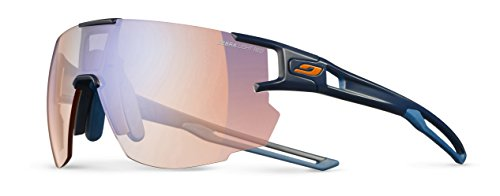 Julbo Aerospeed Sunglasses, Dark Blue/Dark Blue/Orange with Zebra Light Red Lenses