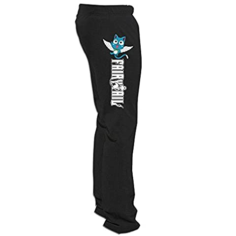 Runy Men's Fairy Tail Logo Slim Sports Jogging Running Pants (Warrior Cat Necklace)
