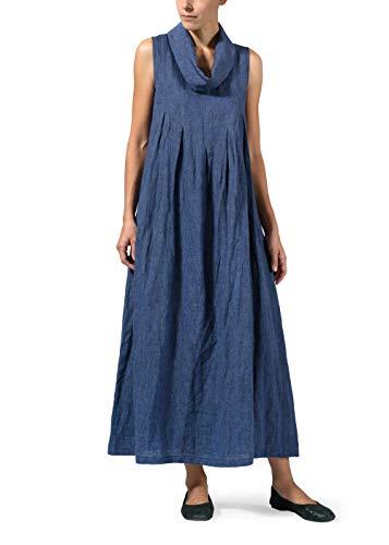 Vivid Linen Funnel Neck Long Dress-3X-Cobalt Blue -