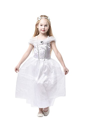 Blue Panda Wedding Dress - Kids Bride Costume, Bridal Gown for Girls Dress-Up, White, L ()