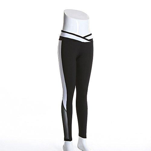 Xuanytp Pantalon de yoga Taille Mi Sporting Femmes Fitness Leggings Maille Blanc Patchwork Femmes Entraînement Leggings Respirant Minceur Pantalon Pour Femme