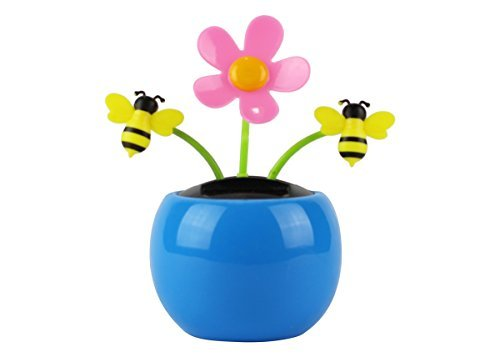 Home-X Solar Dancing Flower with Bumble Bee Toy, Fun, Educational and Eco-Friendly Toy for Kids of All Ages, Compatible with Indoor and Outdoor Lighting