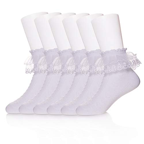 LINEMIN Baby Toddler Girls Summer Princess Eyelet Lace Ruffle Mesh Frilly Socks Ankle Cotton Socks For 1-12 Year Old (8-12 Year Old, 3 Pack White Color)