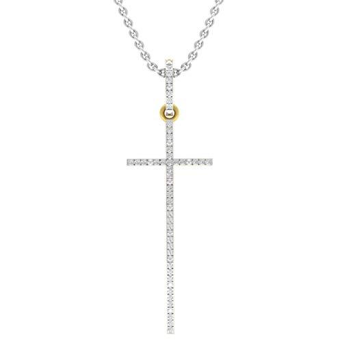 0.08 Carat (ctw) 14K Yellow Gold Round Diamond Ladies Religious Cross Pendant With Silver - Cross Gold 14ky