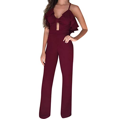 QIQIU Womens Sexy Halter Ruffle V-Neck Sling Jumpsuit Solid Hllow Out Holiday Long Wide Leg Rompers Red -