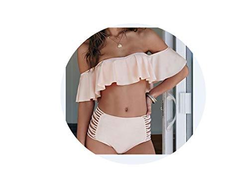 SHINe-Island Women Off-Shoulder Bikini Set Bandage Hollow Out Push Up Padded Swimwear Swimsuit Bathing ()