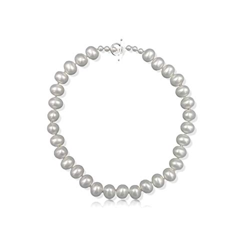 (Womens Creamy White South Sea Mother of Pearl Shell Pearl in Egg Shape Beaded Hand Knotted Collar Statement Necklace Sterling Silver Toggle Loop Clasp, about 20