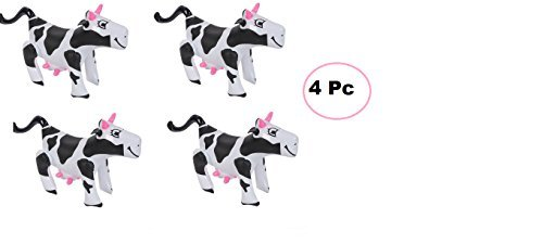 Mixed (4) Adorable Cow Inflates ~ Inflatable Farm Cows ~ Approx 17'' ~ Fun Animal Farm Party Decor Favor ~ School Oudoor Birthday Kids Pretend Animal Themed Parties ~ Toy -