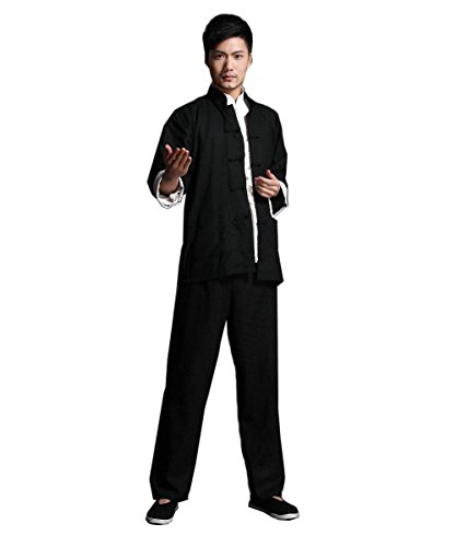 Bruce Lee Costume Chinese wing chun Kung Fu Uniform Martial Arts Tai Chi Suits (L(suit for