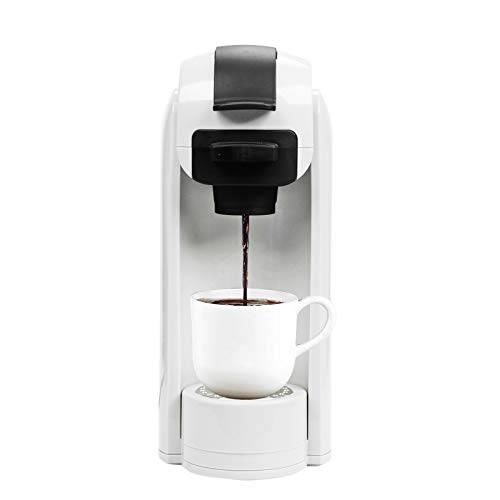 Single Serve Coffee Maker, Coffee Machine for Most Single K-Cup Pods and Ground Coffee, Included Reusable Coffee Filter. Removable Water Tank, Rapid Brew Technology 1000 Watts (White)