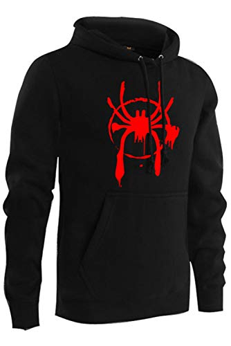 Mens Adult Miles Morales Thicken Hoodie Into The Spider-Verse Hooded Pullover Top Black