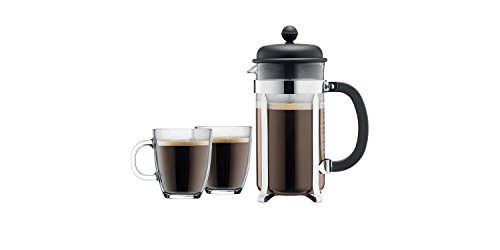 Bodum Caffettiera French Press Coffee Maker Set, 8 cup Large 34 oz, Black, With 2, 12 oz Clear Bistro Mugs Made with Borosilicate Glass Reusable