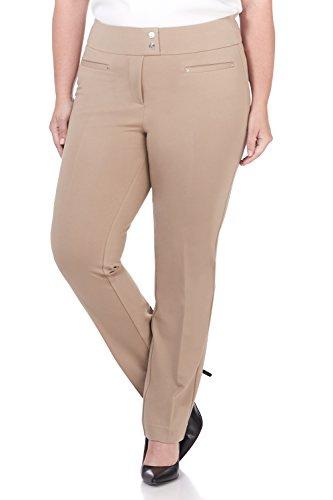 - Rekucci Curvy Woman Secret Figure Knit Plus Size Straight Pant w/Tummy Control (16W,Camel)