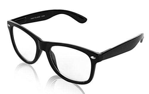 SunnyPro Non Prescription Nerd Glasses Black Clear Lens For Women And Men UV 400