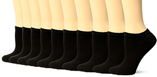Gildan Women's Half Cushion No Show Socks, 10 Pairs, black, Shoe Size: 4-10