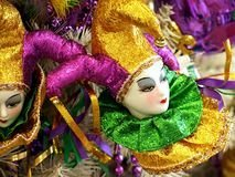 Jester Trees - Mardi Gras Purple Green Gold Porcelain Jester Lady Christmas Tree Ornament