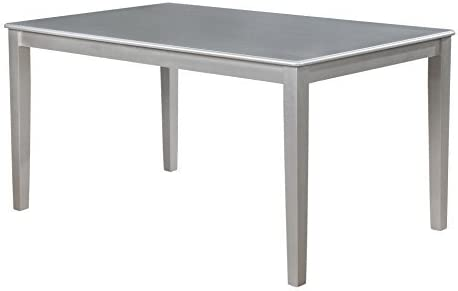 Roundhill Furniture Avignor Contemporary Simplicity Large Dining Table, Silver