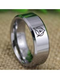 Tungsten Band with Beveled Edge Star Trek Logo Ring