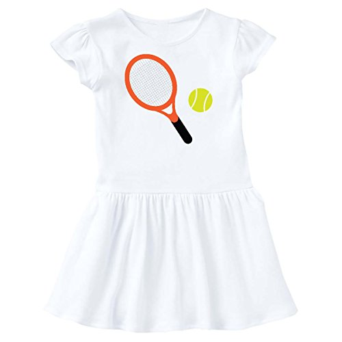 inktastic - Tennis Racket and Ball Toddler Dress 5/6 White 1efe2