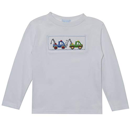 Vive La Fete Tow Truck Smocked Boys Long Sleeve Shirt