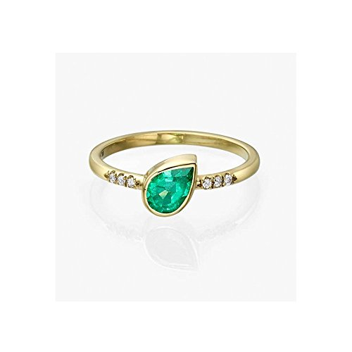 14K Gold and Emerald Ring, Pear Shape Emerald Ring micro paveé Diamonds, Unique Statement Ring, Minimalist Ring, Emerald Engagement (Baguette Diamond Unique Shapes Ring)