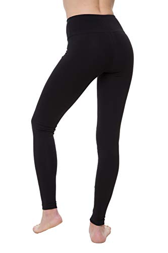 NIRLON Cotton Leggings for Women (L, Black)