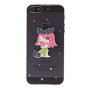 CL - Diamond Mira caso duro del diseño 3D Cute Girl transparente PC para el iPhone 5/5S