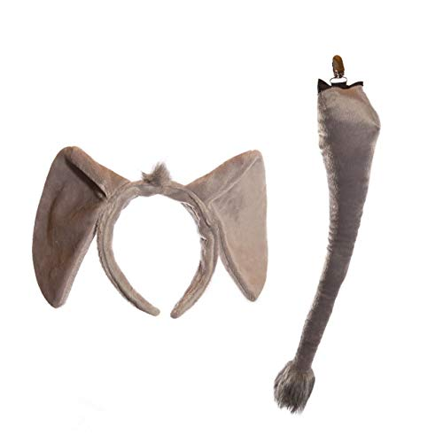 Wildlife Tree Plush Elephant Ears Headband and Tail Set for Elephant Costume, Cosplay, Pretend Animal Play or Safari Party Costumes -