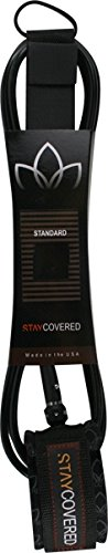 Stay Covered Deluxe Reg Black Surfboard Leash - 6' by Stay Covered