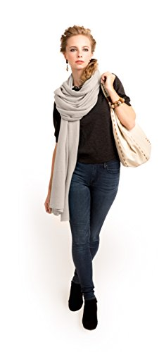 Super Soft Oversized 100% Cashmere Travel Blanket Scarf Wrap - Light Latte by Anna Kristine