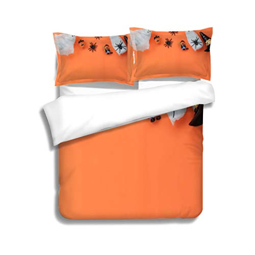 Family bed Overhead of Happy Halloween Festival background conceptSeveral and Mix sign object for the seasonVariety 3 Piece Bedding Set with Pillow Shams, Queen/Full, Dark Orange White Teal Coral