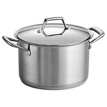 Tramontina 80101/011DS Gourmet Prima Stainless Steel, Induction-Ready, Impact Bonded, Tri-Ply Base Covered Stock Pot, 8 Quart, Made in Brazil