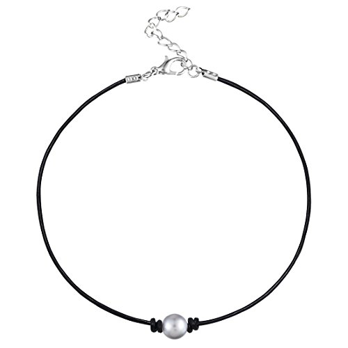 MJartoria Girls Black PU Leather Cord Faux Pearl Choker Necklace (Grey Faux Pearl Necklace)
