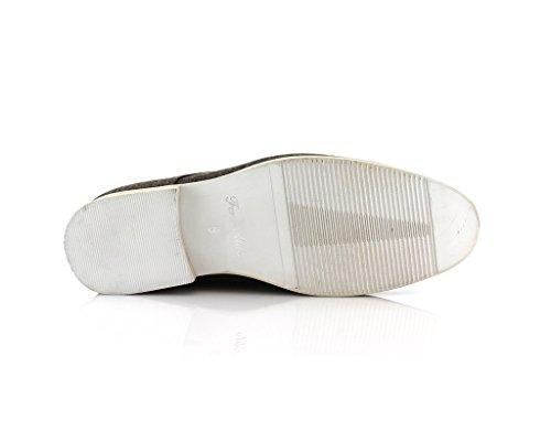 Scarpe Eleganti Stringate Nuove In Tela Sintetica Moderna Eco Marrone