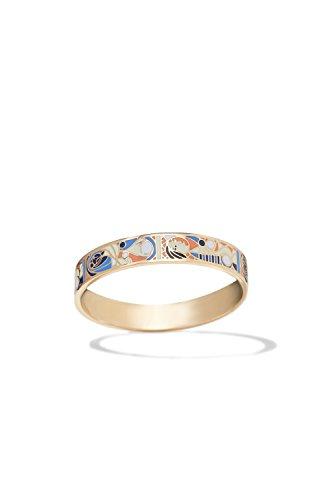 Costume Mother Images Nature (Metal Bracelet Bangle Multicolor Gold Wristband Enamel Enameled Women Jewelry (white, royal blue,)