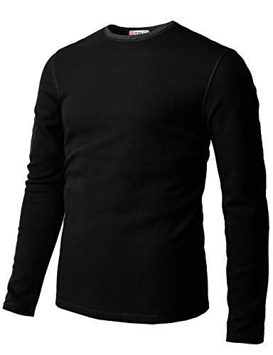 H2H Mens Casual Slim Fit Long Sleeve T-Shirts Crew-Neck Soft Lightweight Waffle Cotton Black US M/Asia L (CMTTL119)