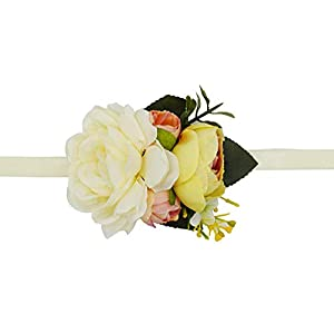 Lovful Pack of 2 Big Flower Wrist Corsages for Prom Bridesmaid Wedding Wrist Corsage Party Prom Hand Wristband,Beige 112