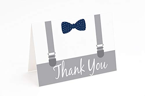 Little Man Baby Shower Blank Thank You Cards 10 Pack Blank Cards with Envelopes for Birthday Bowtie and Suspenders