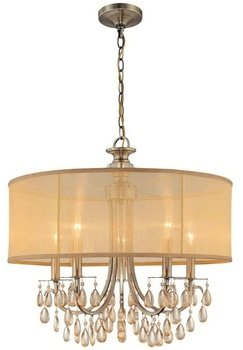 5625-AB Hampton 5LT Pendant, Antique Brass Finish with Gold Silk Fabric Shade and Etruscan Smooth Crystal Drops (Crystorama Lamp Shades)