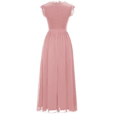 Dressystar Women's V Neck Sleeveless Lace Bridesmaid Dress Wedding Party Gown: Clothing