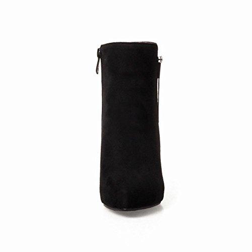 Charm Fot Kvinna Mode Fast Spetsig Tå Dragkedja Hög Klack Boots Svart