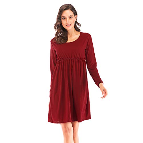 Mysky Fashion Women Casual Pure Color O-Neck Loose Mini Dress Ladies Simple Long Sleeve Above Knee Party Dress