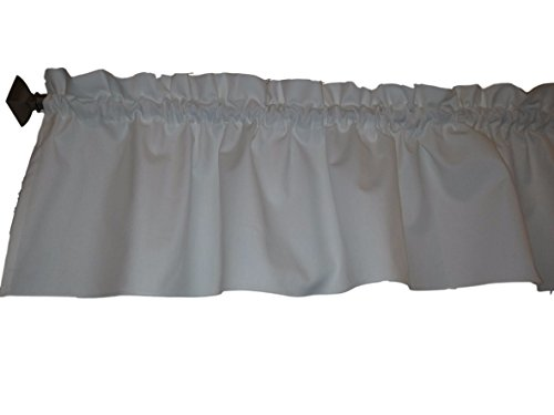 """White Valance Curtain Solid Color. Ruffled on top. Window treatment. Window Decor. Kitchen, classroom, Kids, wide 56"""" fits standard curtain rod."""