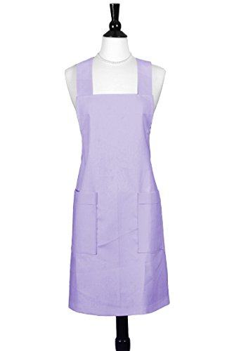 Orchids Blend (Over the Head Womans Japanese Crossback Apron in Purple Lavender Orchid Linen Blend)