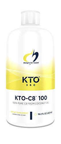 Designs for Health KTO-C8-100 - Keto Supplement C8 Caprylic Acid MCT Oil from Coconut, Add to Coffee, Shakes or Recipes (16.2oz) (Best Mct Oil Supplement)
