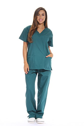 Just Love Women's Scrub Sets Six Pocket Medical Scrubs (V-Neck With Cargo Pant), Dark Green, -