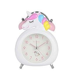 JINSERTA Unicorns Clock Silent with Night Light Double Bell Alarm Clock Cartoon Children's Alarm Clock (White)