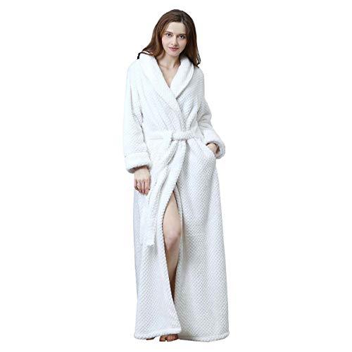 Womens Long Robe Soft Fleece Fluffy Plush Bathrobe Ladies Winter Warm Sleepwear Pajamas Top Housecoat Nightgown White